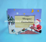 Polyresin Christmas Photo Frame com Snow Man e Reindeer Statue