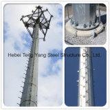 De buiten Mobiele Toren van de Buis van het Staal van de Antenne van de Telecommunicatie Monopole Enige