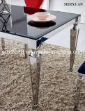 Tavolino da salotto superiore di vetro nero moderno dell'acciaio inossidabile di rettangolo