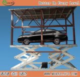 Plataforma dobro Scissor Car Lift com Car Top Roof