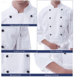 Custom White Long Sleeve Cotton Fitness New Model Cheap Double Breast Chef Uniform