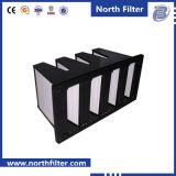 Воздушный фильтр V-Крена с твердой коробкой для системы HVAC