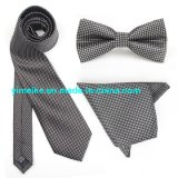 最新のジャカード人のためにセットされる小さい格子縞の首のタイのちょうネクタイのハンカチのタイ