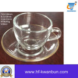 Tazze di tè di vetro trasparenti semplici con i piatti trasparenti Kb-Jh06079