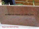 Темнота клена - сляб гранита красного сляба гранита Polished для верхней части тщеты встречной верхней части