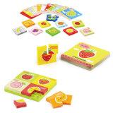 O cartão educacional do estudo do enigma da fruta do brinquedo obstrui o brinquedo