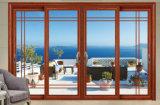 Дверь деревянного цвета алюминиевая с сползая деятельностью отверстия