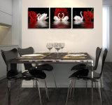 L'arte moderna della parete delle 3 parti ha stampato la maschera di arte incorniciata decorazione della stanza della pittura del cigno della pittura verniciata sulla decorazione Mc-234 della casa della tela di canapa