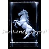 El laser del cristal 3D grabó al agua fuerte el cubo del caballo (ND11063)