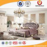 Античная роскошная кожаный кровать деревянной рамки (UL-FT613)