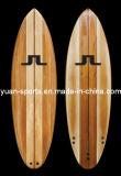 Доска для серфинга с деревянным шпоном поверхности, с веслом совет