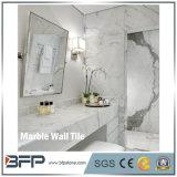 telha decorativa interior de mármore branca da parede Carrara do tijolo grosso de 1cm
