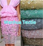 2016 laço quente novo do bordado da tela do laço da flor de Wanhua Texile 3D