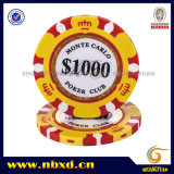 14G 3-toon Crown Monte Carlo Clay Poker Chip met Gold Trim Sticker (sy-E36)