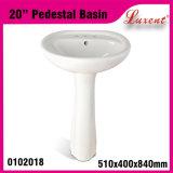 Lavabo sur pied extérieur solide de lavage de main de pièce en céramique de dîner de prix bas