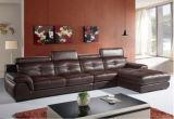 Sofá de sala de estar com sofá de canto de couro em forma de L Sofá moderno com seções