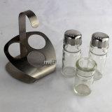 Acciaio inossidabile e bottiglia del petrolio e dell'all'aceto di vetro con il basamento