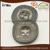Bouton de chemise en alliage de zinc en métal de trous faits sur commande du logo 4