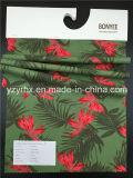 Terra verde-cupo 100% del tessuto del cotone della pesca Finished della saia con il foglio ed il fiore rosso