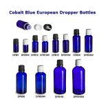 botellas euro del cuentagotas del petróleo esencial del azul de cobalto de 5ml 10ml 15ml 30ml 50ml 100ml