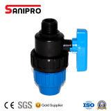 Válvula de esfera material de Pn10 PP para a irrigação