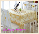 Tablecloth dourado do laço do PVC