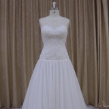 恋人の首ライン花嫁の服の低いウエストのウェディングドレス
