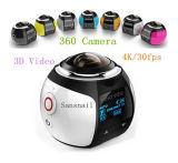 Câmera panorâmico com a lente esférica dupla, câmera video de um Vr de 360 graus da ação da captação da fotografia de HD Wi-Fi Digital (preto com o suporte do tripé e da montagem)
