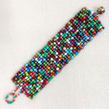 De brede Kleurrijke Seedbead Geweven Armband van Bohemen