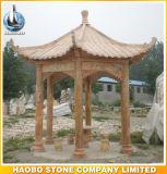 Gazebo asiático do jardim do granito