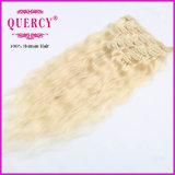 O melhor grampo de cabelo de venda do cabelo de Remy do Virgin das cores ajustadas cheias da cabeça das extensões no grampo disponível do ser humano de Remy