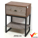 Brown antiguo Mesa lateral de madera francesa Pequeñas Nightstands