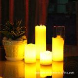黄色い明滅のワックスの蝋燭LEDの石蝋ライト