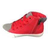 Chaussures de toile Lace-up noires/blanches d'injection de PVC de type de sport d'enfant