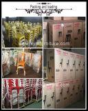 Rustikale Bankett-Metallstühle mit hölzerner Auflage
