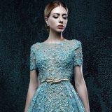 Backless реальное платье венчания шнурка втулки краткости фотоего (ZXB-37)