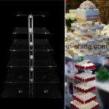 Soporte de acrílico claro de la torta para la boda y el cumpleaños