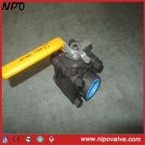 Válvula de bola flotante NPT de acero forjado 3-PCS