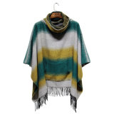 Winter-Franse-Taschen-Poncho der Dame-Fashion Striped Acrylic Knitted (YKY4508)