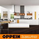 Keukenkasten van de Korrel van pvc van het Ontwerp van Oppein de Nieuwe Moderne Houten (OP16-PVC03)