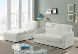 半PU PVC角の記憶の白いソファーベッド