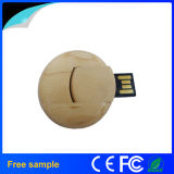 試供品の自然な木製の円のカードのPendrive USBの棒
