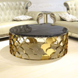 새로운 디자인 둥근 금 스테인리스 대리석 상단 커피용 탁자