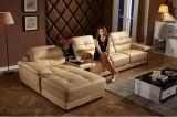 Moderne schwarze lederne Schnittecksofa-Wohnzimmer-Couch