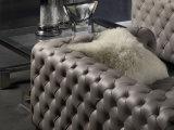 Il cuoio genuino di stile americano ha trapuntato il sofà impostato per la casa (GLS-011)