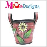 Plantador colgante al aire libre de la flor del metal de crisol de flor que cultiva un huerto