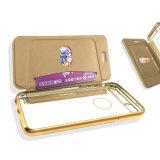 iPhoneのためのカードPorketが付いている電気めっきTPUの札入れフリップ革携帯電話の箱6 6splus (XSQB-002)