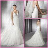 Da sereia de casamento do vestido de Tulle do laço vestidos 2017 de casamento nupciais W1624