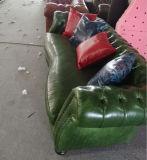 Sofa sectionnel en cuir lustré contemporain tufté réglé pour la maison (GLS-022)