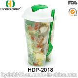 Чашка трасучки салата оптовых продаж цветастая пластичная с вилкой (HDP-2018)